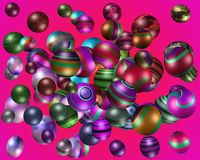 3D colourful spheres. Lots of 3D coloured patterned spheres pink Stock Photography