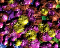 3D colourful textured  spheres. Lots of 3D coloured and textured spheres Royalty Free Stock Photography