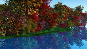 3D colourful trees against a riverside Stock Image