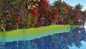 3D colourful trees by riverside Stock Image