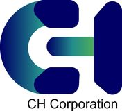 3D colourfull Logo Blue och gräsplan CH Korporation royaltyfri illustrationer