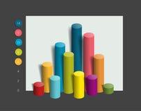 3D colummn chart, graph. Simply color editable. Stock Images