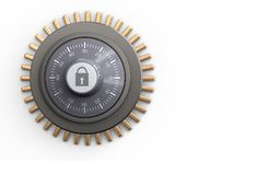 3d combination lock blank. 3d illustration of combination lock over white background stock illustration