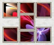 3D Combo framed fractal artwork Royalty Free Stock Photos