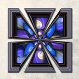 3D Combo framed fractal artwork Stock Images