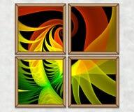 3D Combo framed fractal artwork Royalty Free Stock Photography