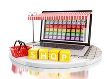 3d comercio electrónico, PC del ordenador portátil con las tiendas móviles del app Imagenes de archivo