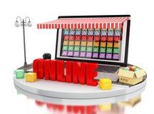 3d commercio elettronico, computer portatile con i depositi di app del cellulare Fotografia Stock