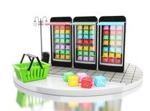 3d commercio elettronico, Smartphone con i depositi di app del cellulare Fotografia Stock