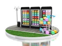 3d commercio elettronico, Smartphone con i depositi di app del cellulare Fotografia Stock Libera da Diritti