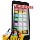 3d commercio elettronico, Smartphone con il cellulare app Fotografie Stock