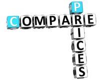 3D comparam palavras cruzadas dos preços Foto de Stock Royalty Free