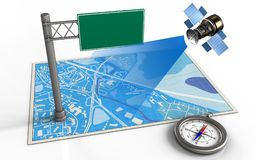 3d compass. 3d illustration of blue map with index sign and satellite stock illustration