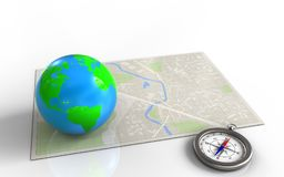 3d compass. 3d illustration of bright map with earth and vector illustration