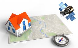 3d compass. 3d illustration of bright map with house and gps satellite stock illustration