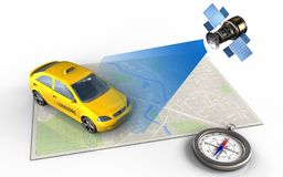 3d compass. 3d illustration of bright map with taxi and satellite vector illustration