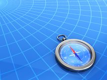3d compass with a geographical background Stock Photos