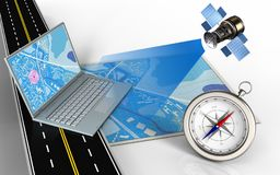 3d compass. 3d illustration of blue map with computer and compass vector illustration