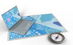 3d compass. 3d illustration of blue map with computer and royalty free illustration