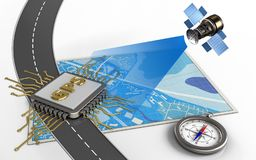3d compass. 3d illustration of blue map with gps chip and compass vector illustration
