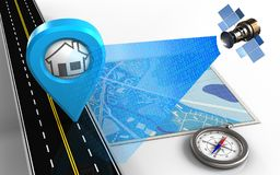 3d compass. 3d illustration of blue map with home point and compass royalty free illustration