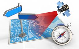 3d compass. 3d illustration of blue map with index and satellite royalty free illustration