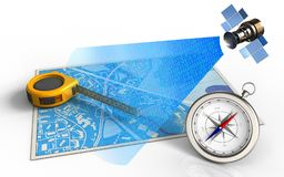 3d compass. 3d illustration of blue map with measure tool and satellite digital signal royalty free illustration