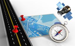 3d compass. 3d illustration of blue map with red pins and compass Stock Photos
