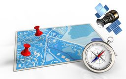 3d compass. 3d illustration of blue map with red pins and gps satellite stock illustration