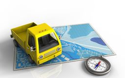 3d compass. 3d illustration of blue map with yellow truck and stock illustration
