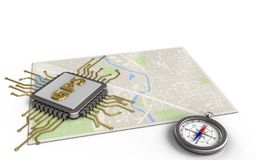 3d compass. 3d illustration of bright map with gps chip and royalty free illustration