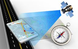 3d compass. 3d illustration of bright map with mobile navigation and compass royalty free illustration