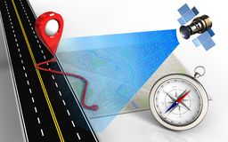 3d compass. 3d illustration of bright map with route and compass vector illustration
