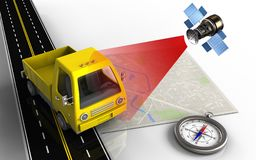 3d compass. 3d illustration of bright map with yellow truck and compass vector illustration
