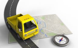 3d compass. 3d illustration of bright map with yellow truck and compass stock illustration