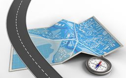3d compass. 3d illustration of city map with compass and stock illustration
