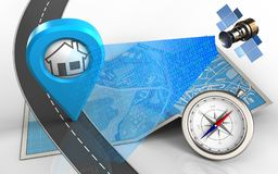 3d compass. 3d illustration of city map with home point and compass Royalty Free Stock Images