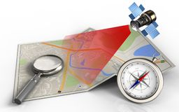 3d compass. 3d illustration of city map with magnify glass and compass stock illustration