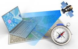 3d compass. 3d illustration of map with computer and satellite digital signal royalty free illustration