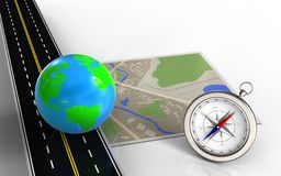 3d compass. 3d illustration of map with earth and compass vector illustration