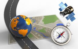 3d compass. 3d illustration of map with earth globe and compass Stock Photos