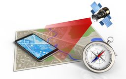 3d compass. 3d illustration of map with mobile phone and satellite royalty free illustration