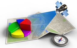 3d compass. 3d illustration of map paper with business data and satellite vector illustration