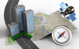 3d compass. 3d illustration of map paper with city buildings and compass vector illustration