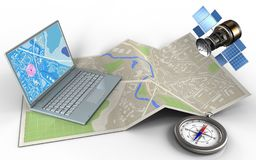 3d compass. 3d illustration of map paper with computer and gps satellite royalty free illustration