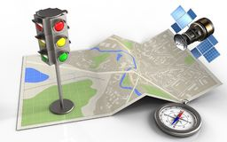 3d compass. 3d illustration of map paper with traffic light and gps satellite royalty free illustration