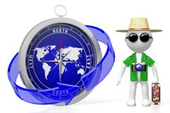 3D compass, travel concept Royalty Free Stock Photography