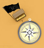 3d compass with treasure text projecting  concept Stock Photos