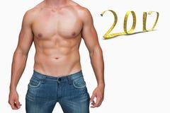 3D Composite image of attractive bodybuilder Stock Photos