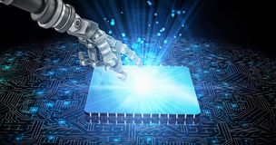 3D Composite image of back robot arm pointing at something. Back robot arm pointing at something against 3D shiny square on black circuit board Royalty Free Stock Photos